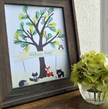 forest friends thumb print tree green diy printable baby