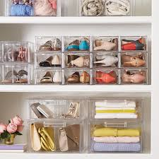 clear shoe drawers clear stackable shoe drawer the container store
