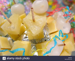 cheese pineapple on cocktail sticks stock photos u0026 cheese