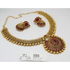 red necklace online images Antique kundan red stone necklace set online m2948p925 jpg