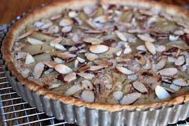 crunchy nutty fruity sweet pear almond custard tart for