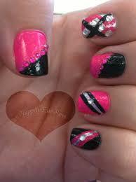 pink u0026 black nail design inspired by queenofblending with