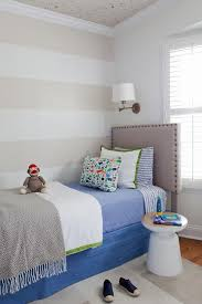 Bedroom With Stars White And Beige Striped Kids Bedroom With Scattered Gold Stars
