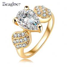 aliexpress buy beagloer new arrival ring gold beagloer new brand ring gold color micro inlay aaa cubic zircon