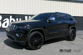 jeep grand cherokee blackout jeep grand cherokee with 22in black rhino spear wheels exclusively