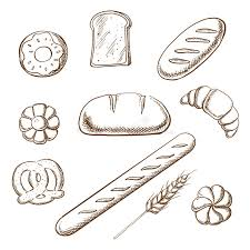 bakery and pastry object sketches stock vector image 65271526