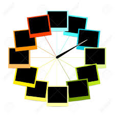 creative clock design with photo frames royalty free cliparts