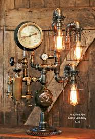 steampunk industrial steam gauge lamp