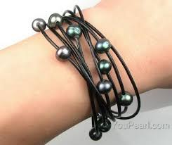 black pearl bracelet jewelry images Multi strand peacock black freshwater pearl leather bracelet jpg