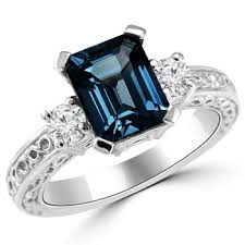 topaz engagement ring 3 70ct london blue topaz diamond 3 engagement ring vintage