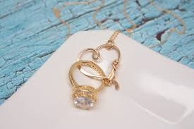ring necklace pendant images Heart clasp ring holder necklace yellow gold filled wedding jpg