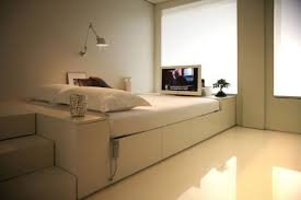 Small Flat Interior Interior Modern Flat Design Feature Glossy Floor Cream
