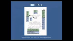 Apa Style Cover Page Example by Purdue Owl Apa Formatting The Basics Youtube