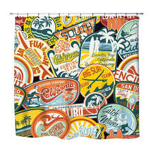 Vintage Shower Curtain California Vintage Surf Stickers Shower Curtain U2013 Extremely Stoked