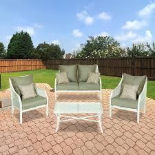 Hampton Bay 4 Piece Patio Set Alise Conversation Set Replacement Cushions Garden Winds