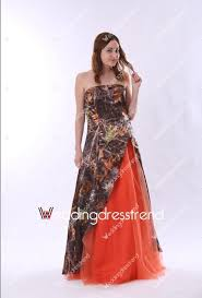 colorful dress best colorful strapless split front orange and camo wedding dress