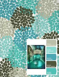 shower curtain blue aqua gray venice inspired floral standard and
