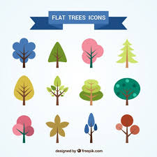 flat tree icons vector premium