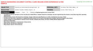 engineering document control clerk resume sample