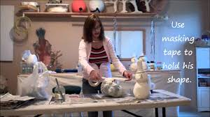 diy paper mache clay snowman youtube