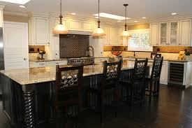 Painted And Glazed Kitchen Cabinets by Glazed Wooden Kitchen Island With Golden Contour Ornaments
