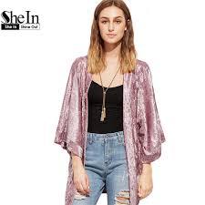 shein 2017 spring women clothes pink kimono open front three