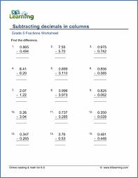 grade 5 addition u0026 subtraction of decimals worksheets k5 learning