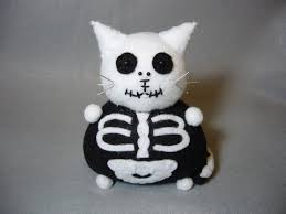 cute halloween skeleton skeleton cat pincushion black and white felt cat cute