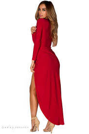 plunging neckline irene sleeve maxi dress with plunging neckline