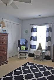 Navy Blue Curtains For Nursery Gray Walls White Curtains With Navy Stripes Sewed On Blue Rug On