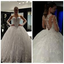 full lace ball gown wedding dresses 2017 princess long sleeves