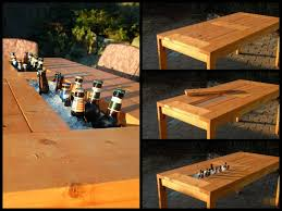 Patio Table Wood Wonderful Diy Patio Table With Built In Wine Cooler