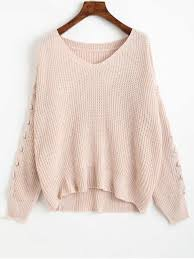 light pink cardigan sweater v neck lace up sleeve chunky sweater light pink sweaters one size
