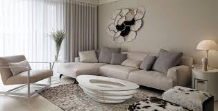 picturesque modern living room with sectional beige couch also