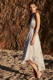 a line jewel tea length lace fabric boho wedding dress with lace