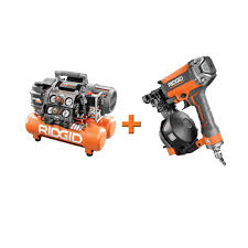 ridgid 5 gal portable electric steel orange air compressor with