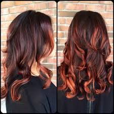 Dark Hair Colors And Styles Red Balayage Highlights Dark Hair Hair Color Ideas Pinterest