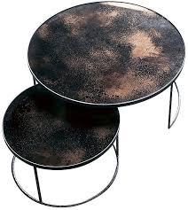round nesting coffee table buy bronze heavy aged mirror round nesting coffee table set online