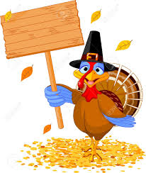 thanksgiving sign illustration of a thanksgiving turkey holding a blank board sign