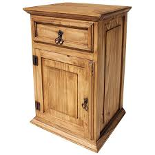 rustic pine tall nightstands with single drawer and single door