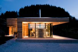 exterior facade modern minimalist lake design with wood wall