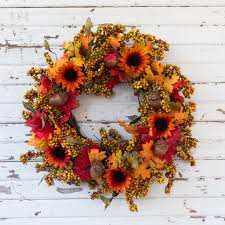 berry wreath fall sunflower and yellow berry wreath 22 inch