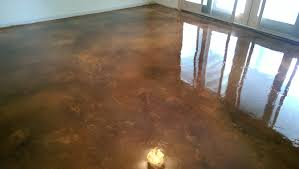 decorative concrete acid stained coating on a basement floor w