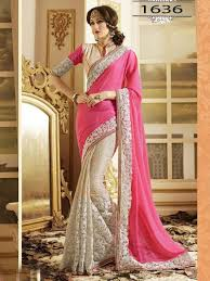 engagement sarees for with white color replica engagement saree