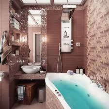 the best tub ideas for small bathroom design homesfeed gorgeous brown bathroom decoration with curved white tub for small room with 3d wallpaper and unique