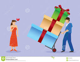 deliver gifts to pretty vector illustration stock