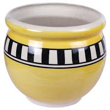 h 9 u201d earthen pot shaped ceramic planter u2013 hand painted ribbed