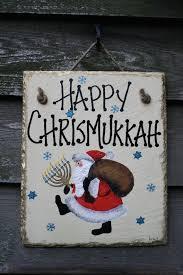 chrismukkah decorations happy chrismukkah christmas hanukkah painted santa menorah