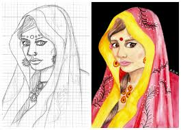 how to draw from a photo using the grid method