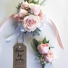 pink corsage blush pink corsage and boutonnière for a wedding or prom